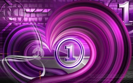no 1: Digital illustration of No  1 symbol in colour background  Stock Photo