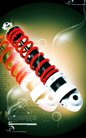 Digital illustration of Shock absorber in colour background Stock Illustration - 13619242