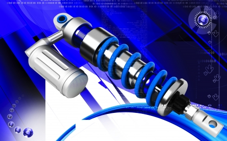 Digital illustration of Shock absorber in colour background Stock Illustration - 13655456
