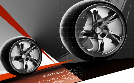 Digital illustration of Alloy wheel in colour background Stock Illustration - 13655365