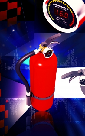 Digital illustration of fire extinguisher in colour background Stock Illustration - 13750044