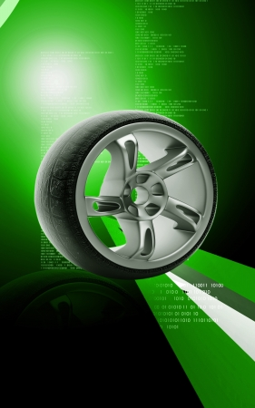Digital illustration of Alloy wheel in colour background Stock Illustration - 13750046