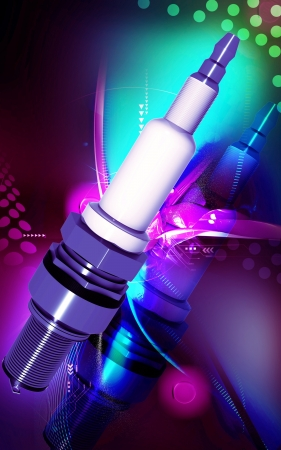 Digital illustration of Spark plug in colour background   illustration