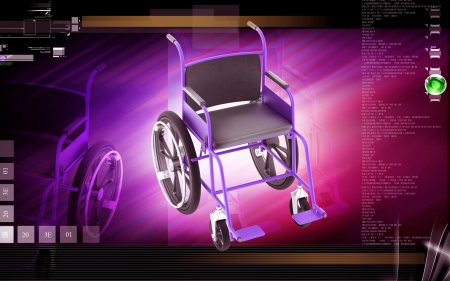 Digital Illustration of  wheel chair  in colour background Stock Illustration - 13867489