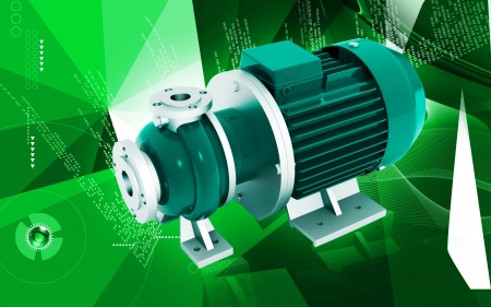 Digital illustration of pressure pump in colour background  illustration