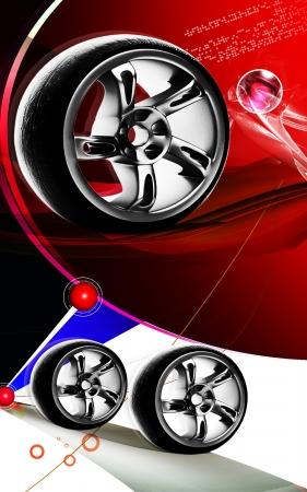 Digital illustration of Alloy wheel in colour background  illustration