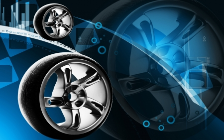 automotive industry: Digital illustration of Alloy wheel in colour background