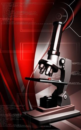Digital illustration   of microscope in colour background  illustration