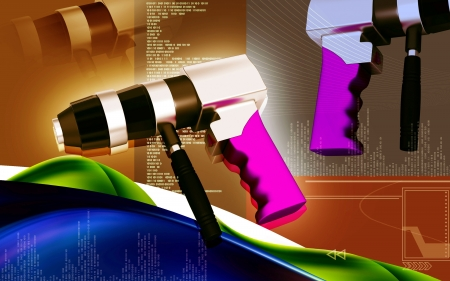 honing: Digital illustration of Reversable air drill in colour background