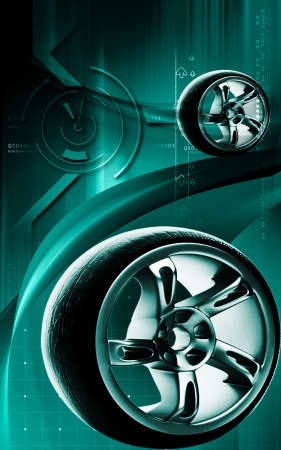 Digital illustration of Alloy wheel in colour background Stock Illustration - 14367470