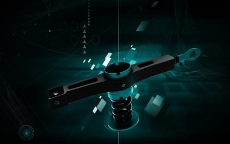 Digital illustration of Shock absorber in colour background  illustration