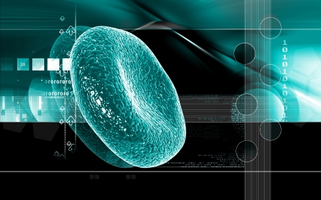 Digital illustration of  blood cell  in colour  background   illustration