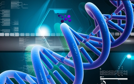 dna background: Digital illustration DNA structure in colour background