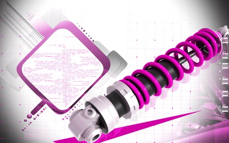 Digital illustration of Shock absorber in colour background Stock Illustration - 20378944