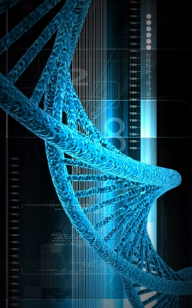 Digital illustration DNA structure in colour background  Stock Illustration - 14631026