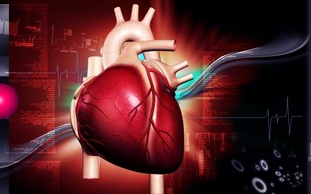 Digital illustration of  heart  in  colour  background  illustration