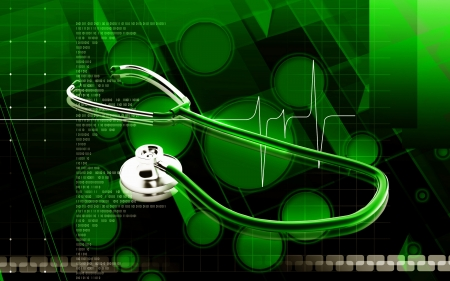 Digital illustration  of stethoscope  in colour background  Stock Photo