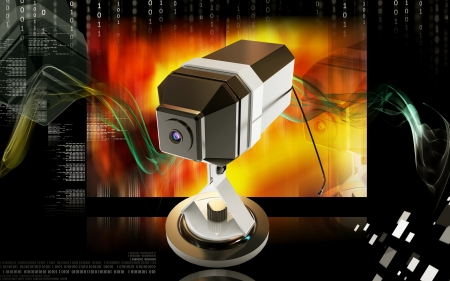 Digital illustration of Web camera in colour background  illustration