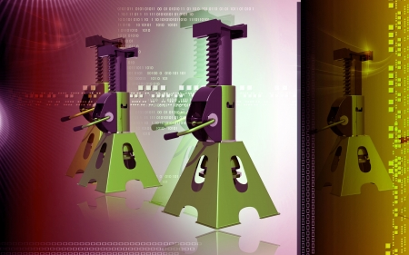 Digital illustration of Car lift in colour background Stock Illustration - 14722012