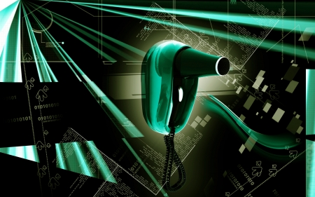 Digital illustration of hair dryer cable in colour  background  illustration