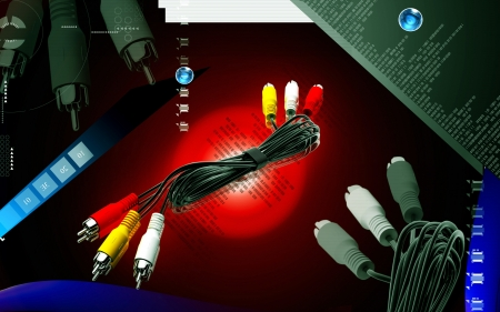 usage: Digital illustration of Audio Video cable in colour  background  Stock Photo