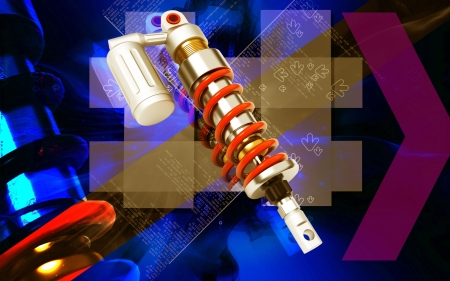 shock absorber: Digital illustration of Shock absorber in colour background  Stock Photo