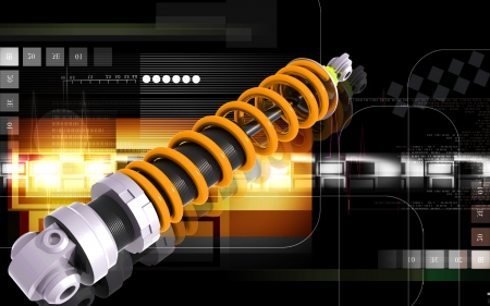 Digital illustration of Shock absorber in colour background Stock Illustration - 14796828