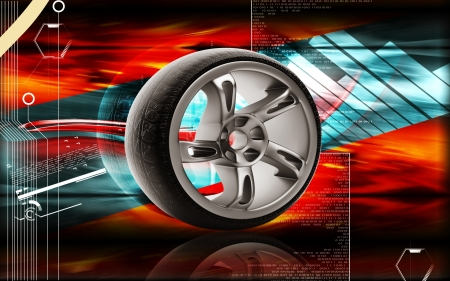 Digital illustration of Alloy wheel in colour background 3D,  colour,  effects,  abstract,  background,  three-dimensional,  technology, imagination,  digital,  graphics,  audio, alloy,  aluminum,  auto,  automobile, automotive,  bright,  car,  chrome,  c Stock Photo