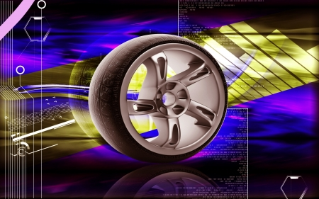 automotive industry: Digital illustration of Alloy wheel in colour background 3D,  colour,  effects,  abstract,  background,  three-dimensional,  technology, imagination,  digital,  graphics,  audio, alloy,  aluminum,  auto,  automobile, automotive,  bright,  car,  chrome,  c Stock Photo