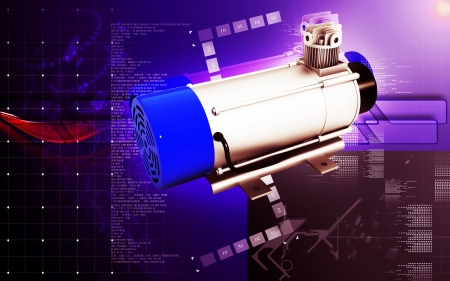 three phase motor: Digital illustration of Electric motor in colour background
