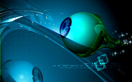Digital illustration of  eye   in  colour  background  Stock Illustration - 15161358