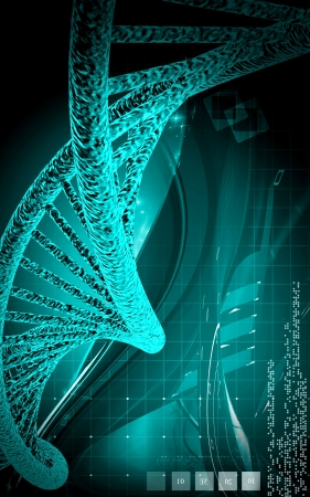Digital illustration DNA structure in colour background  Stock Illustration - 15161373