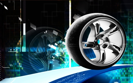 silver sports car: Digital illustration of Alloy wheel in colour background