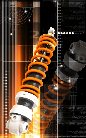 Digital illustration of Shock absorber in colour background Stock Illustration - 15299379