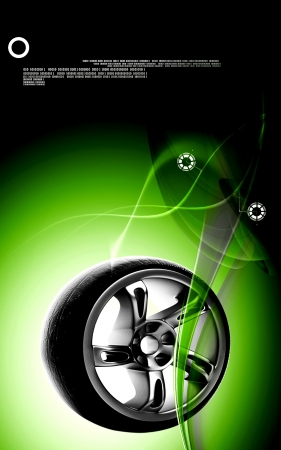Digital illustration of Alloy wheel in colour background Stock Illustration - 15325178