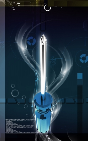 tightening: Digital illustration of Screwdriver in colour background  Stock Photo