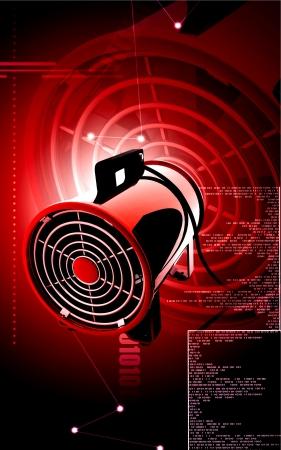 ventilator: Digital illustration of Portable ventilator in colour background