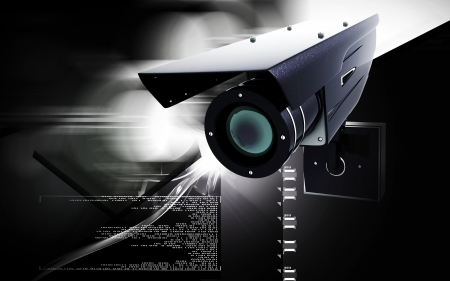 computer security: Digital illustration of security camera in colour background