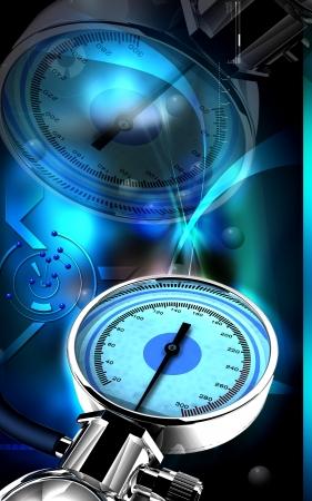 metro de medir: Ilustraci�n digital de esfigmoman�metro en fondo de color