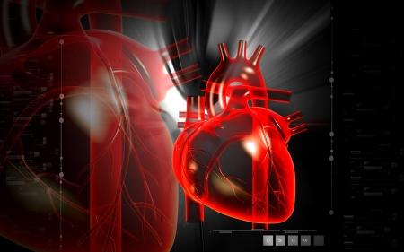 Digital illustration of  heart  in  colour  background Standard-Bild