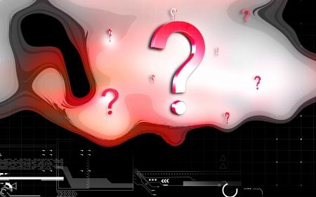 Digital illustration of question mark sign in colour background Stock Illustration - 15538605