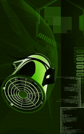 vent: Digital illustration of Portable ventilator in colour background