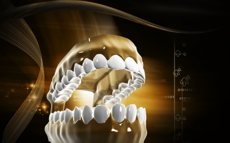salivary: Digital illustration of  Teeth in colour background   Stock Photo