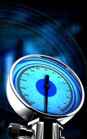 Digital illustration of sphygmomanometer in colour background Stock Illustration - 16157533