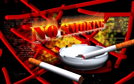 Digital illustration of no smoking  in colour background Stock Illustration - 16158321