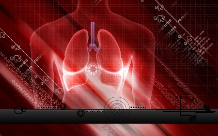Digital illustration of human lungs in colour background  Stock Photo