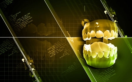 salivary: Digital illustration of  Teeth  in colour background