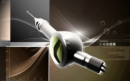 Digital illustration of Micro motor dental polisher   in colour background