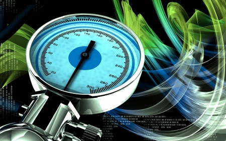 Digital illustration of sphygmomanometer in colour background  Stock Illustration - 16485860