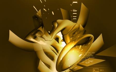 vestibule: Digital illustration of  stapes in colour  background